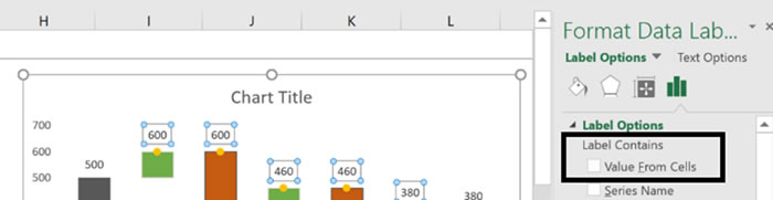 waterfall chart from scratch use value from cells feature for data labels