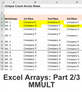 Excel Array formulas - use MMULT function