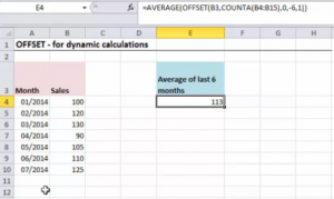 excel offset function