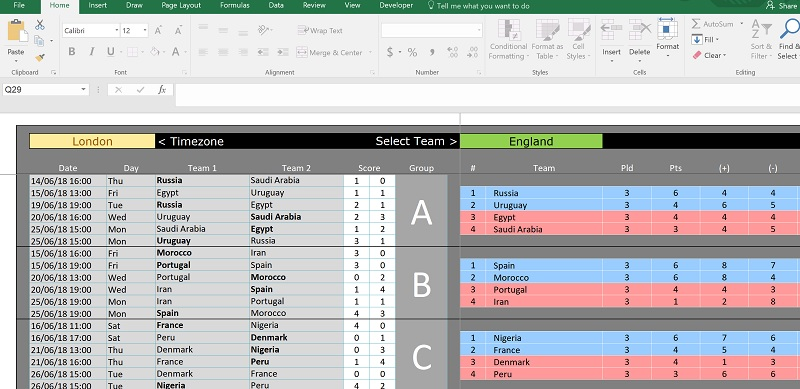 Excel World Cup 2018 sweepstake template overview