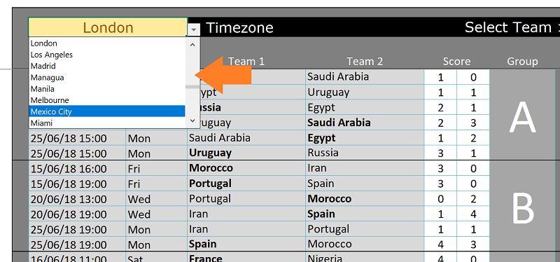 Excel World cup schedule based on time zone