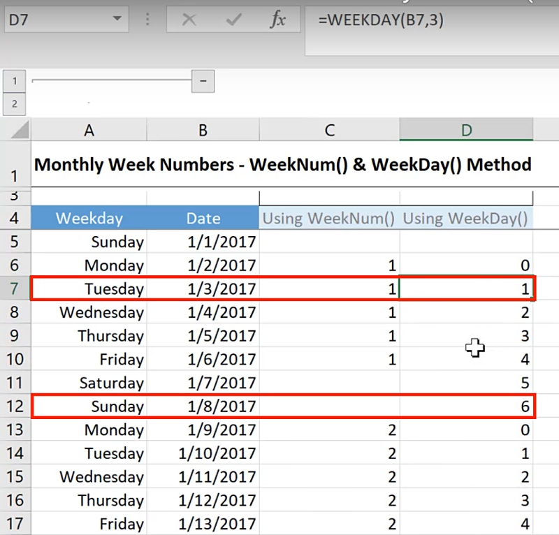 Get Week Number in Excel & Reset for Every Month