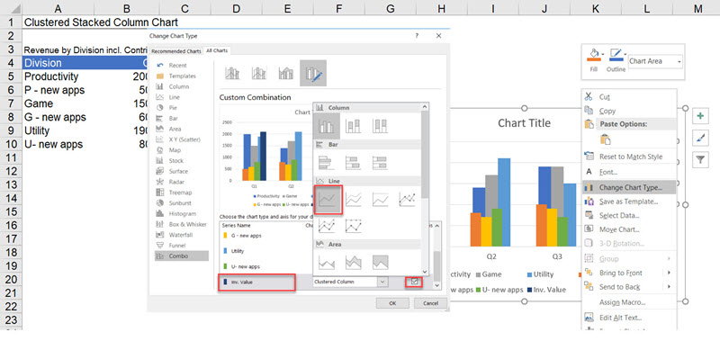 Create a Clustered AND Stacked column chart in Excel (easy)