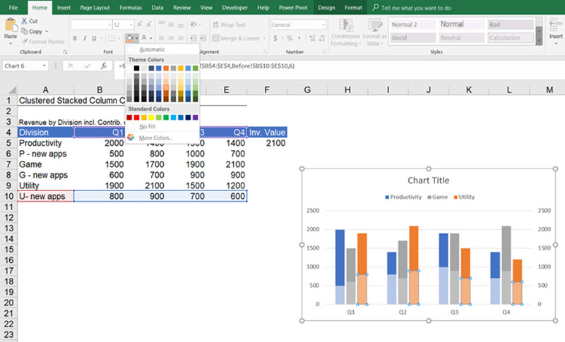 Create a clustered and stacked column chart in excel easy some visual improvements ccuart Image collections