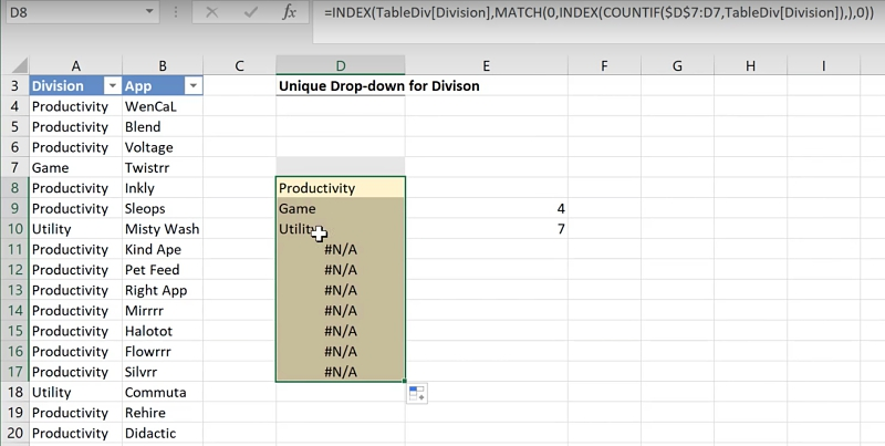 Excel Formula - Extract unique items for drop-down list