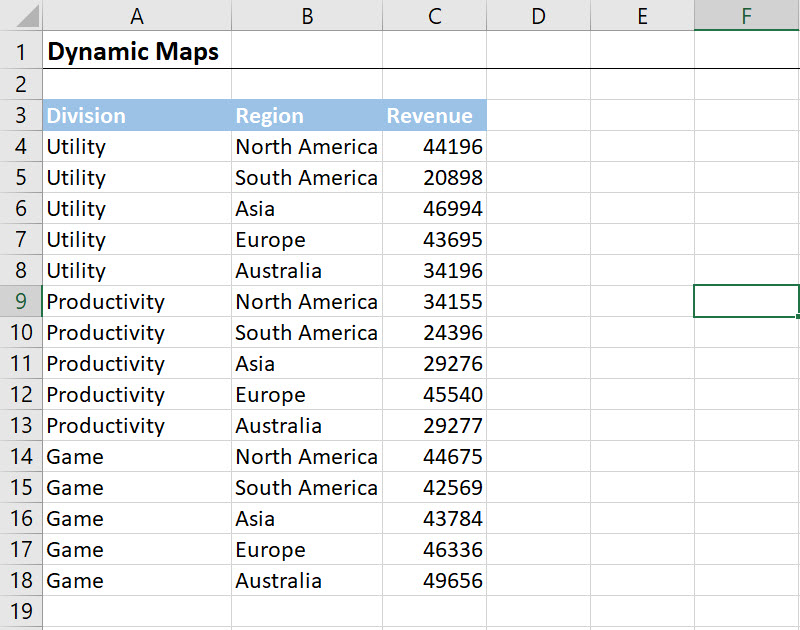 Simple Excel Dynamic Map Chart with Drop-down