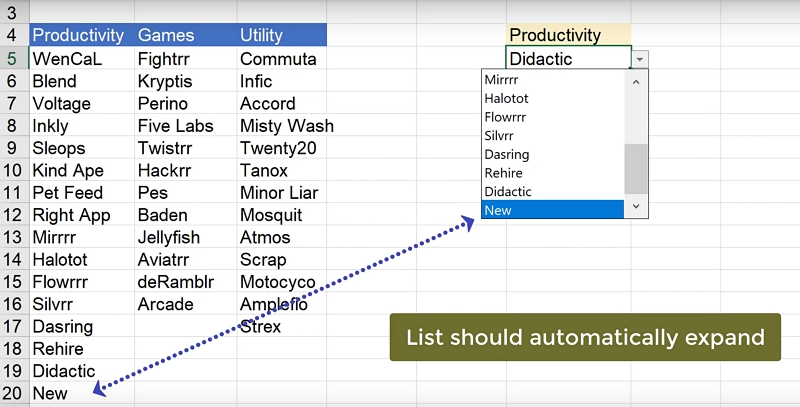 Expandable Conditional Drop Down Lists in Excel - Xelplus