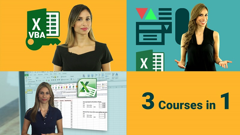 Excel VBA course, Excel dashboard and advanced excel course bundle
