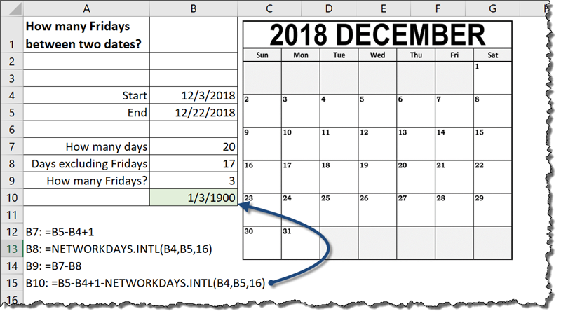 Count Day of Week Between Dates in Excel (How many Fridays