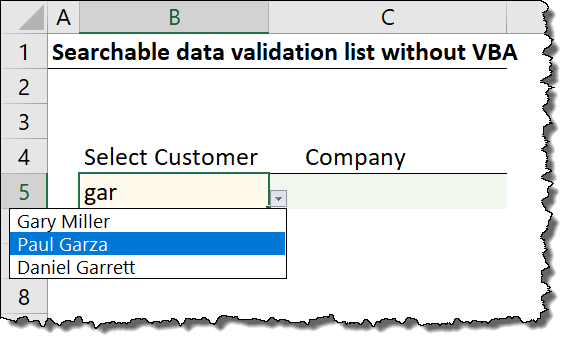 Searchable Drop Down List in Excel (Very Easy with Dynamic