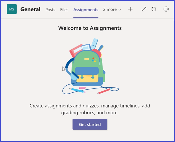 Microsoft Teams - Assignments Start Page