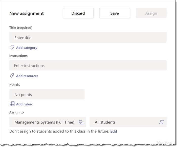 Microsoft Teams - New Assignment Details