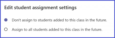 Microsoft Teams - Assignment Future Student Setting