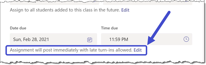 Microsoft Teams - Assignment Scheduling