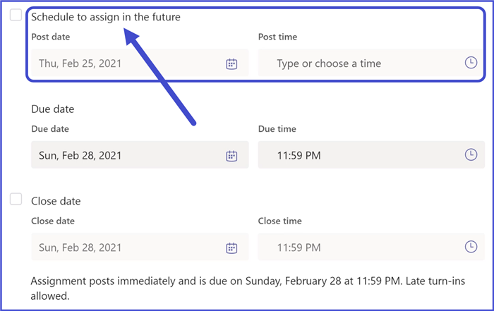 Microsoft Teams - Assignment Scheduling Options