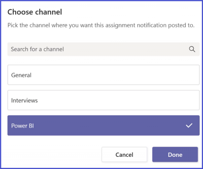 Microsoft Teams - Assignment Channel Selection