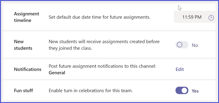 Microsoft Teams - Assignment Settings