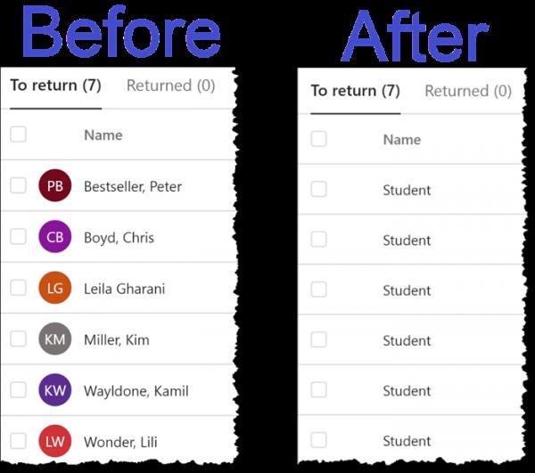 Microsoft Teams - Hide Student Names